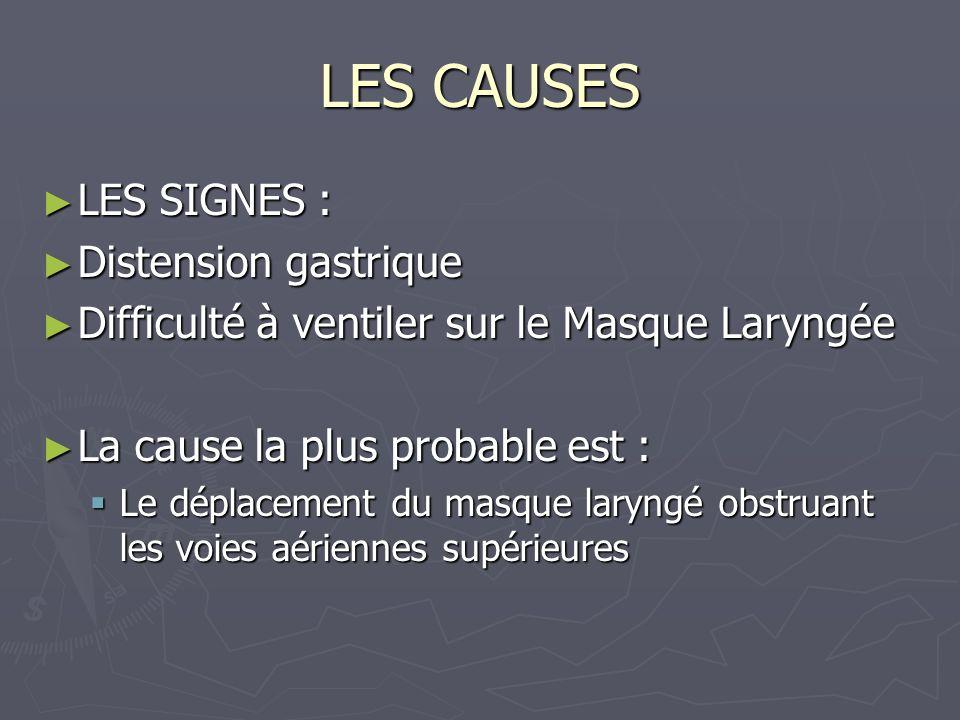 LES CAUSES LES SIGNES : LES SIGNES : Distension gastrique Distension gastrique Difficulté à ventiler sur le Masque Laryngée Difficulté à ventiler sur