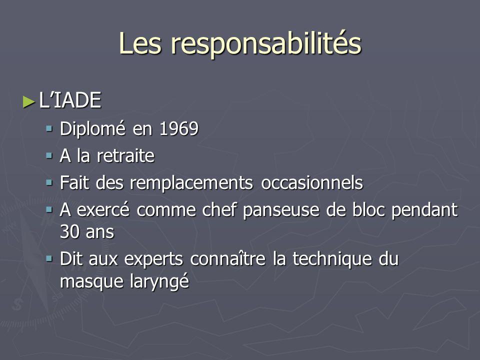 Les responsabilités LIADE LIADE Diplomé en 1969 Diplomé en 1969 A la retraite A la retraite Fait des remplacements occasionnels Fait des remplacements