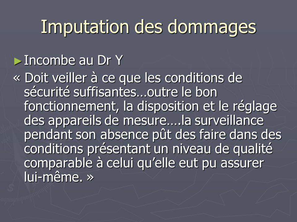 Imputation des dommages Incombe au Dr Y Incombe au Dr Y « Doit veiller à ce que les conditions de sécurité suffisantes…outre le bon fonctionnement, la