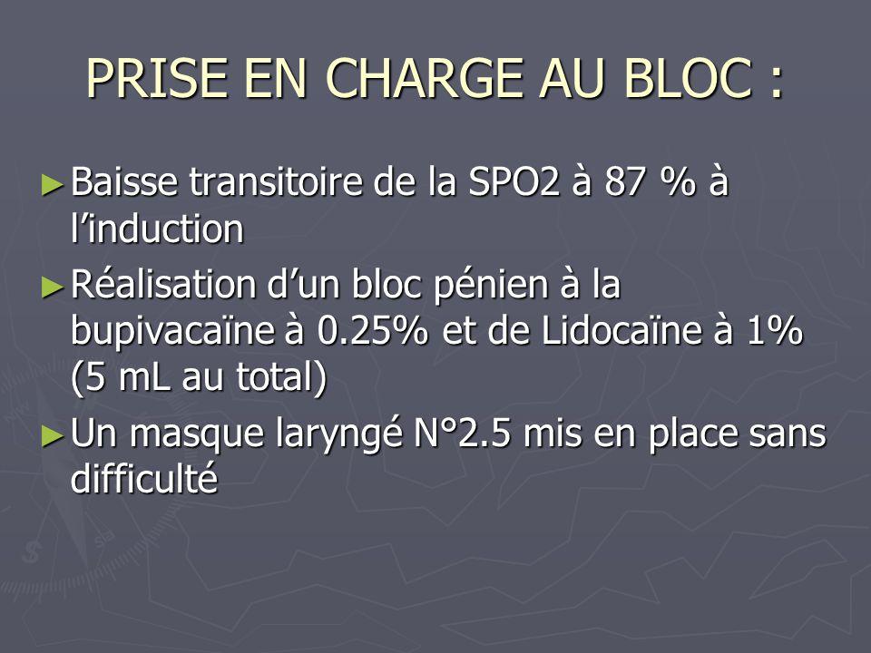 PRISE EN CHARGE AU BLOC : Baisse transitoire de la SPO2 à 87 % à linduction Baisse transitoire de la SPO2 à 87 % à linduction Réalisation dun bloc pén