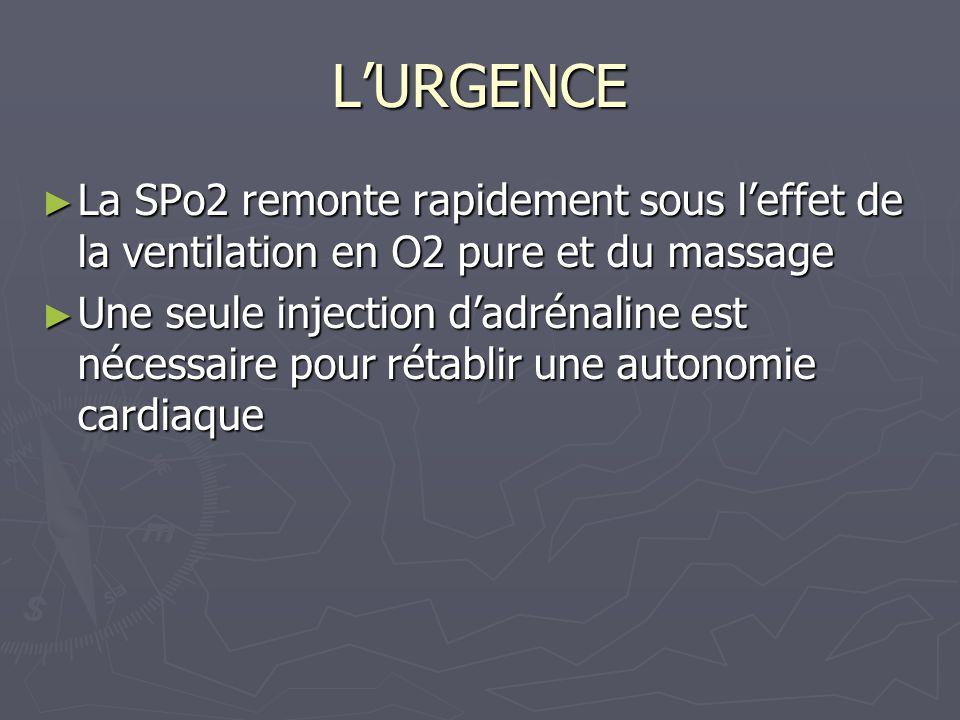 LURGENCE La SPo2 remonte rapidement sous leffet de la ventilation en O2 pure et du massage La SPo2 remonte rapidement sous leffet de la ventilation en