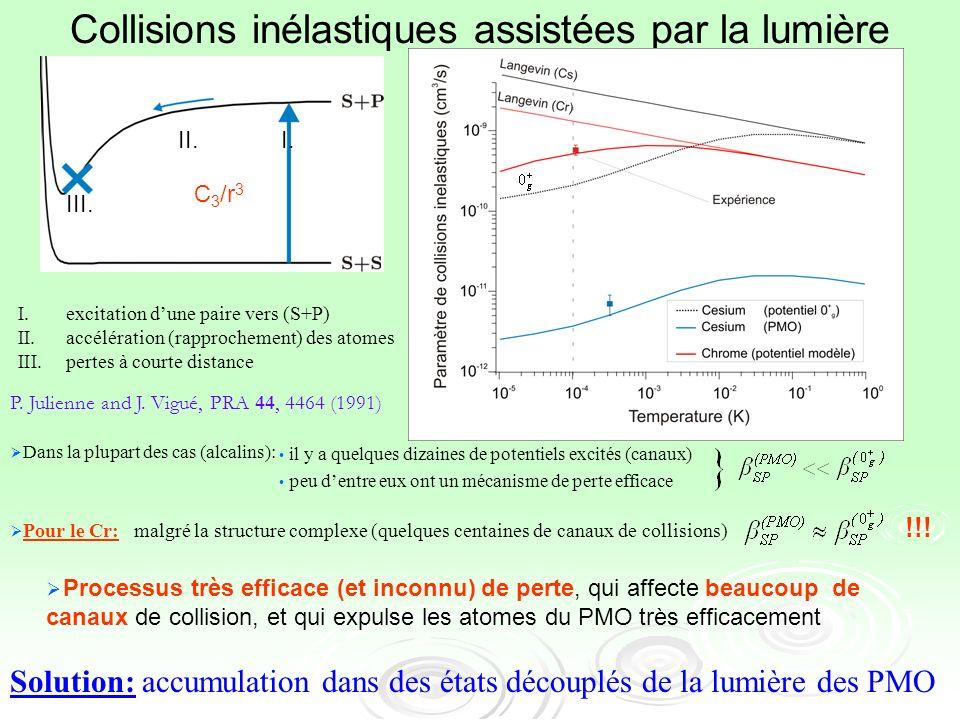 Dans la plupart des cas (alcalins): Pour le Cr: malgré la structure complexe (quelques centaines de canaux de collisions) !!! I.excitation dune paire