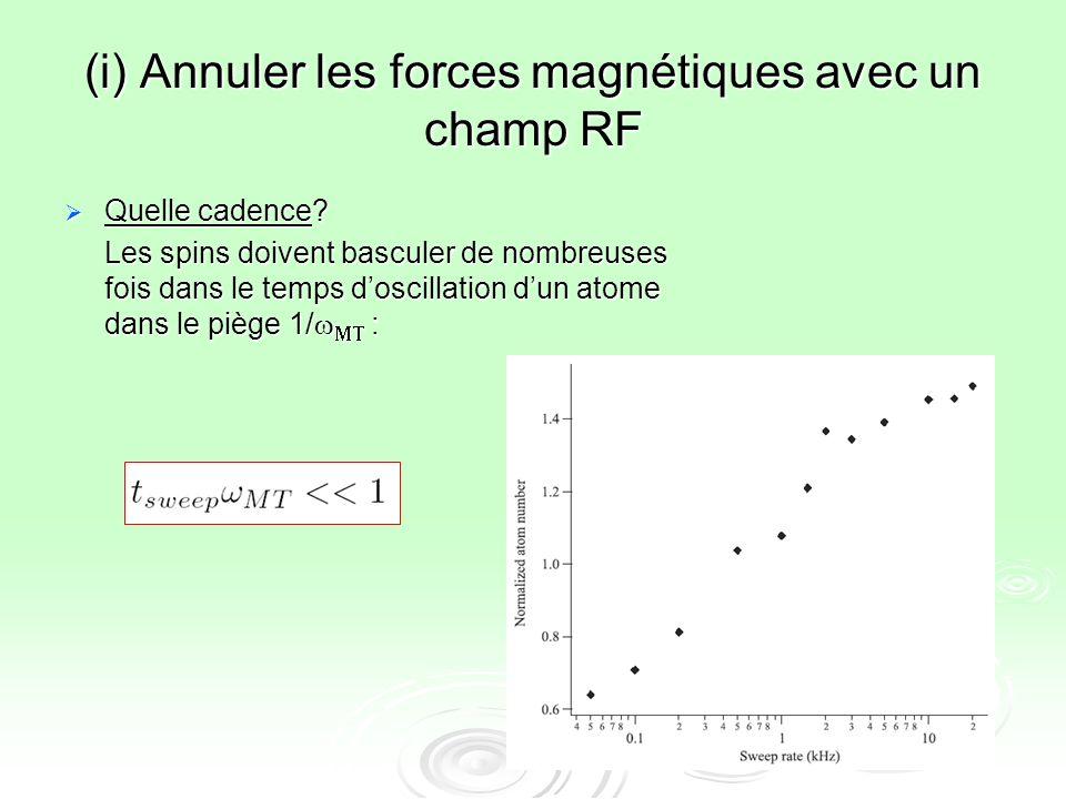 (i) Annuler les forces magnétiques avec un champ RF Quelle cadence? Quelle cadence? Les spins doivent basculer de nombreuses fois dans le temps doscil