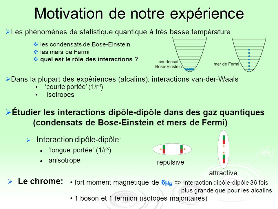 Motivation de notre expérience Interaction dipôle-dipôle: longue portée (1/r 3 ) anisotrope répulsive attractive Le chrome: Étudier les interactions d
