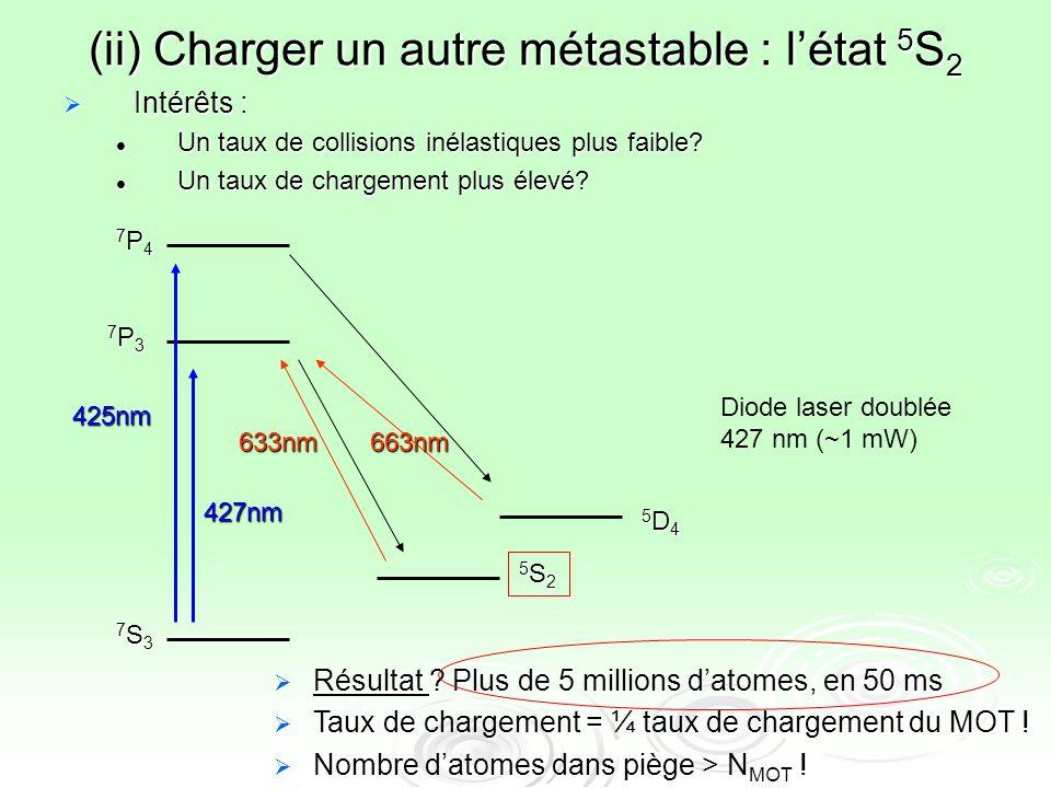 (ii) Charger un autre métastable : létat 5 S 2 Intérêts : Intérêts : Un taux de collisions inélastiques plus faible? Un taux de collisions inélastique