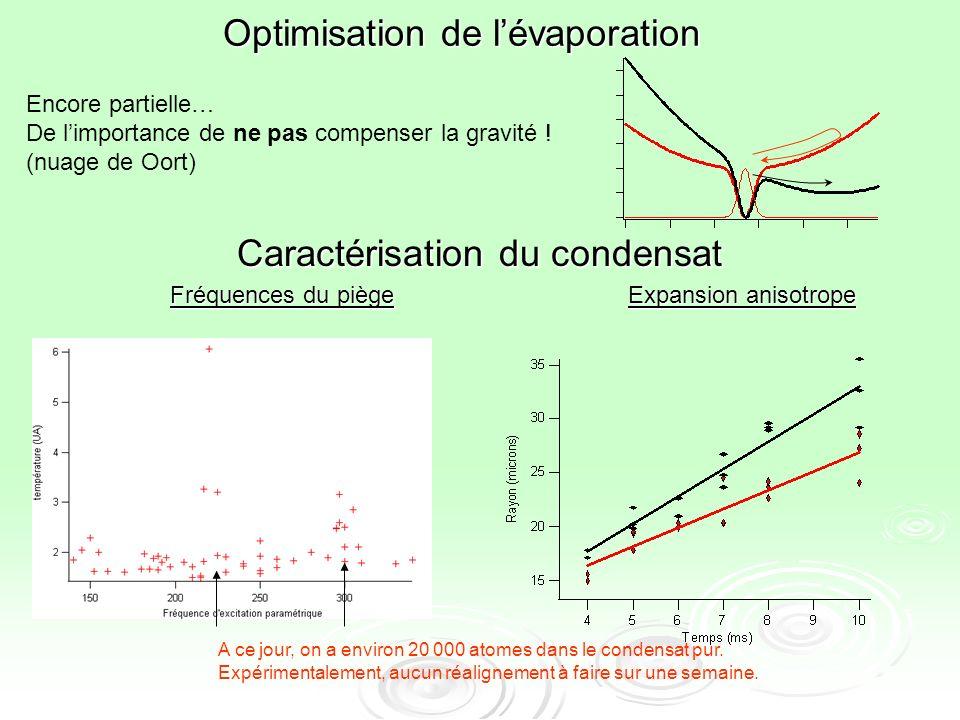 Caractérisation du condensat Fréquences du piège Expansion anisotrope A ce jour, on a environ 20 000 atomes dans le condensat pur. Expérimentalement,
