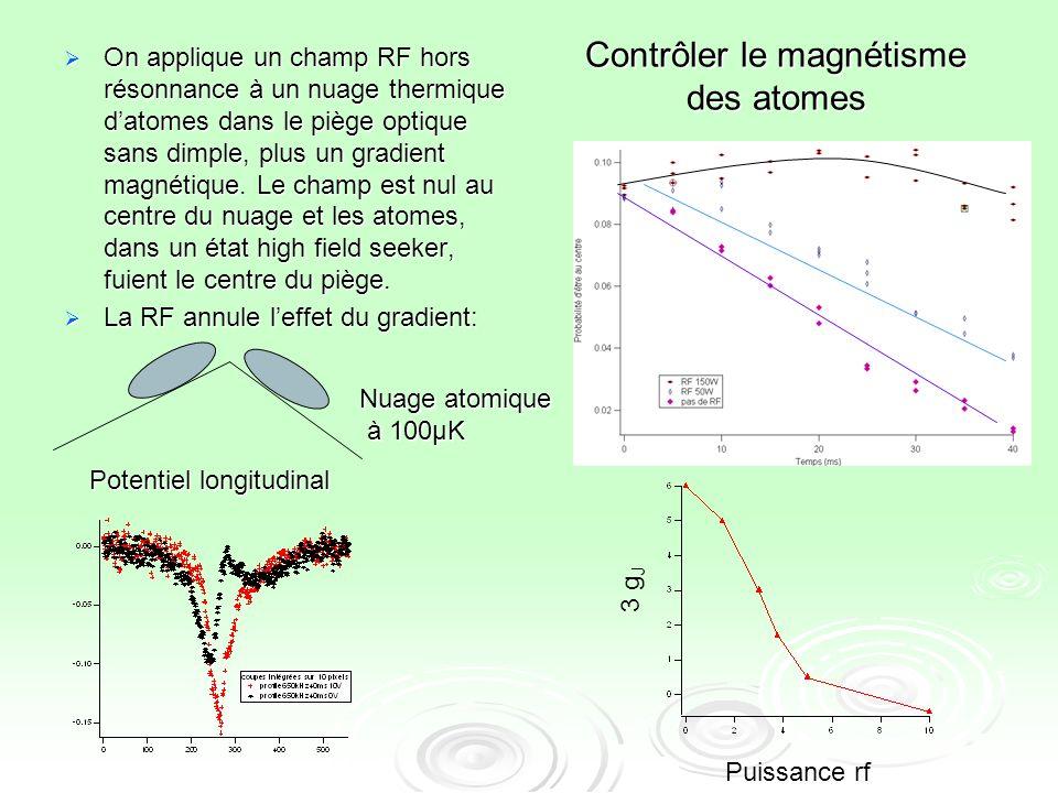 Contrôler le magnétisme des atomes On applique un champ RF hors résonnance à un nuage thermique datomes dans le piège optique sans dimple, plus un gra