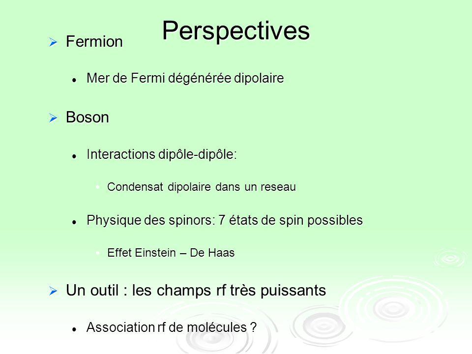 Perspectives Fermion Fermion Mer de Fermi dégénérée dipolaire Mer de Fermi dégénérée dipolaire Boson Boson Interactions dipôle-dipôle: Interactions di