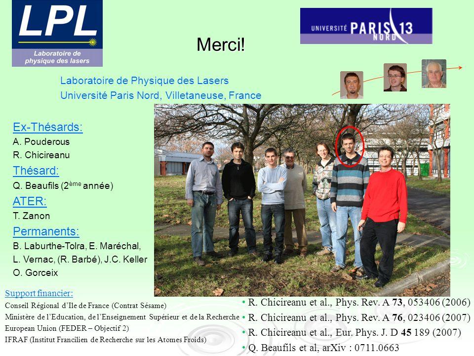 Laboratoire de Physique des Lasers Université Paris Nord, Villetaneuse, France Ex-Thésards: A. Pouderous R. Chicireanu Thésard: Q. Beaufils (2 ème ann