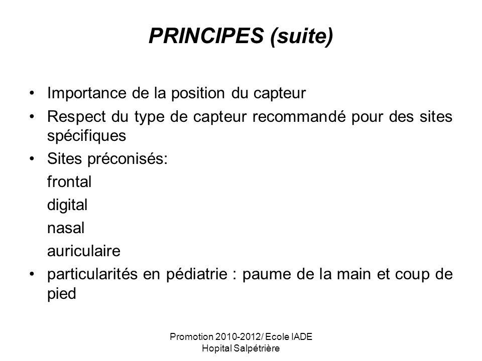 Promotion 2010-2012/ Ecole IADE Hopital Salpétrière PRINCIPES (suite) Importance de la position du capteur Respect du type de capteur recommandé pour