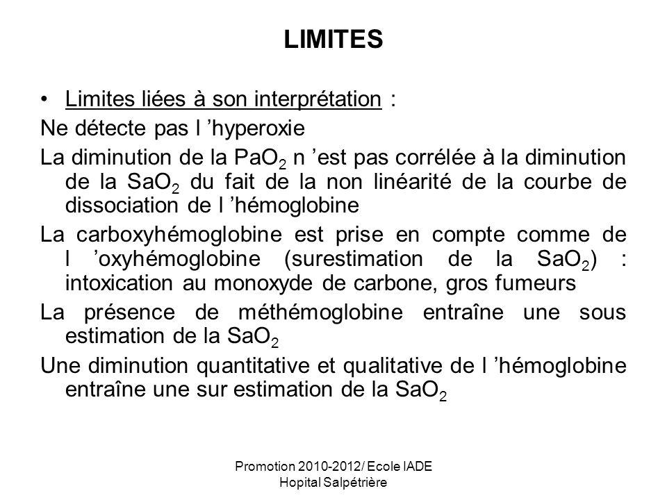 Promotion 2010-2012/ Ecole IADE Hopital Salpétrière LIMITES Limites liées à son interprétation : Ne détecte pas l hyperoxie La diminution de la PaO 2