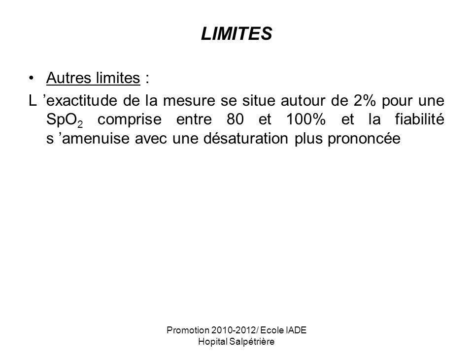 Promotion 2010-2012/ Ecole IADE Hopital Salpétrière LIMITES Autres limites : L exactitude de la mesure se situe autour de 2% pour une SpO 2 comprise e