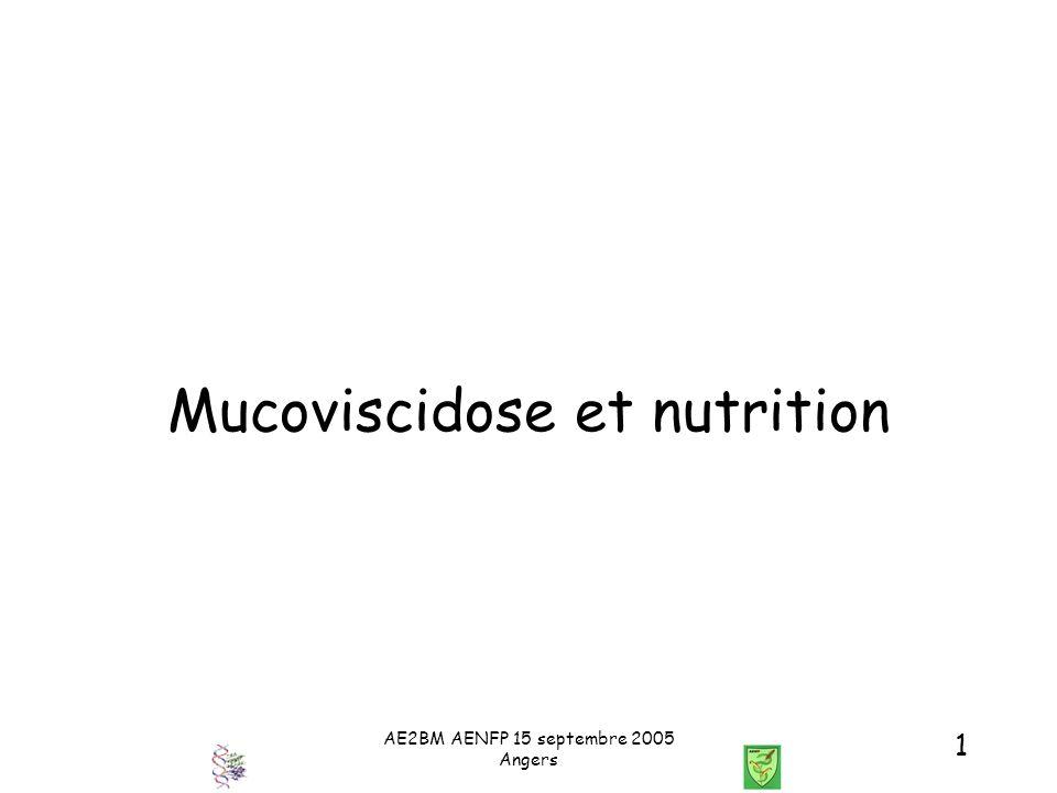 AE2BM AENFP 15 septembre 2005 Angers 32 Mucoviscidose et Nutrition Traitement des complications de la cirrhose /HTP : Pas de traitement préventif de l hémorragie chez lenfant ligature ou sclérose des varices oesophagiennes anti-inflammatoires (sauf aspirine) pas de béta-bloquants (effet bronchique) Anastomoses - porto cave (encéphalopathie et dinsuffisance hépatique et/ou respiratoire) - spléno-rénale (si pas de transplantation) - porto systémique (V.