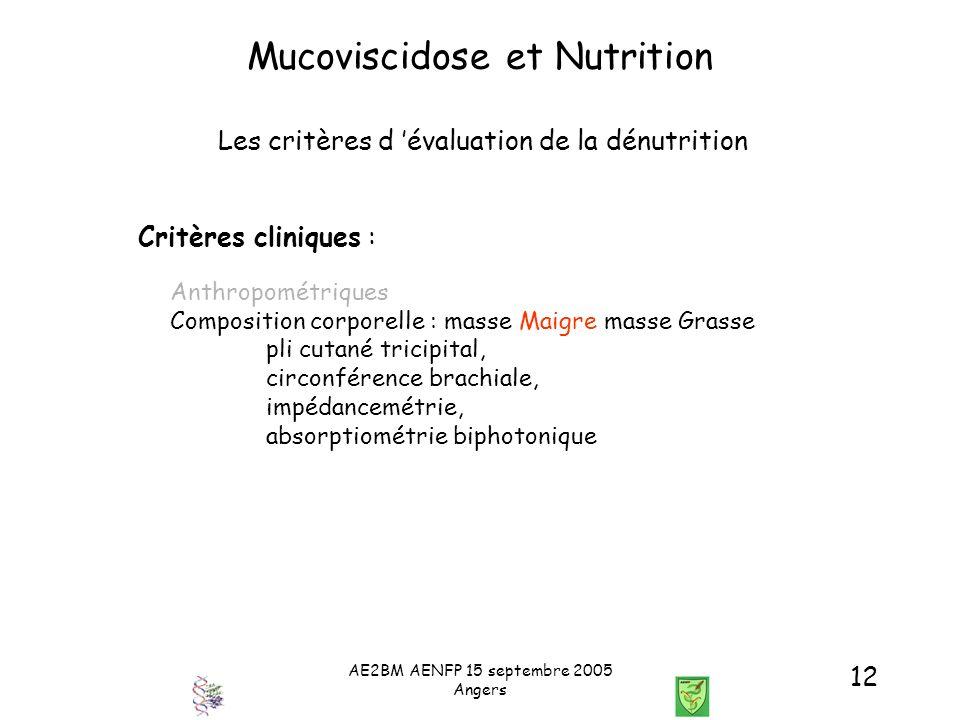 AE2BM AENFP 15 septembre 2005 Angers 12 Mucoviscidose et Nutrition Les critères d évaluation de la dénutrition Critères cliniques : Anthropométriques