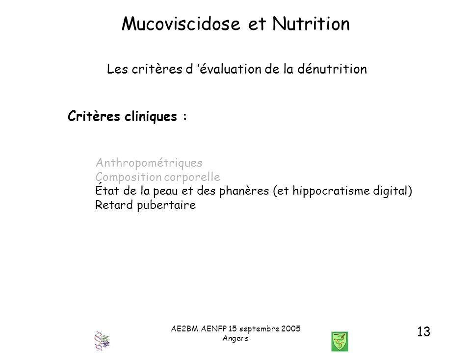 AE2BM AENFP 15 septembre 2005 Angers 13 Mucoviscidose et Nutrition Les critères d évaluation de la dénutrition Critères cliniques : Anthropométriques