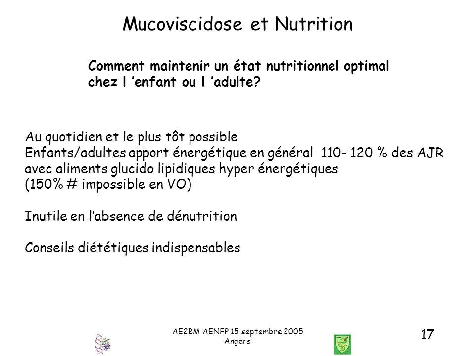 AE2BM AENFP 15 septembre 2005 Angers 17 Mucoviscidose et Nutrition Comment maintenir un état nutritionnel optimal chez l enfant ou l adulte? Au quotid