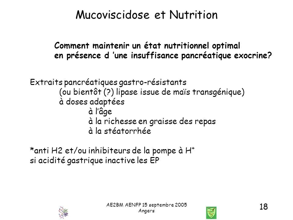 AE2BM AENFP 15 septembre 2005 Angers 18 Mucoviscidose et Nutrition Comment maintenir un état nutritionnel optimal en présence d une insuffisance pancr