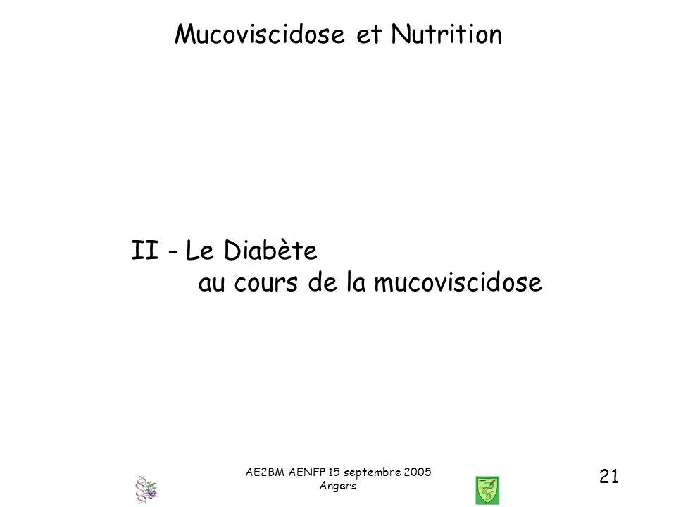AE2BM AENFP 15 septembre 2005 Angers 21 Mucoviscidose et Nutrition II - Le Diabète au cours de la mucoviscidose
