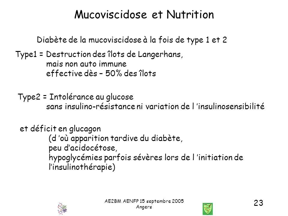 AE2BM AENFP 15 septembre 2005 Angers 23 Mucoviscidose et Nutrition et déficit en glucagon (d où apparition tardive du diabète, peu dacidocétose, hypog