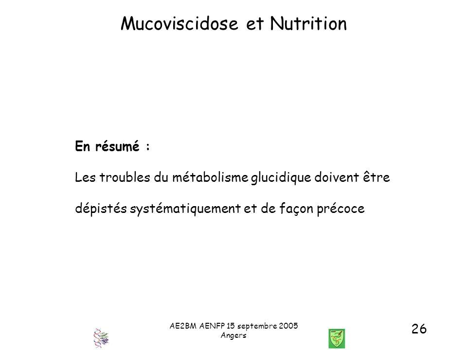 AE2BM AENFP 15 septembre 2005 Angers 26 Mucoviscidose et Nutrition En résumé : Les troubles du métabolisme glucidique doivent être dépistés systématiq