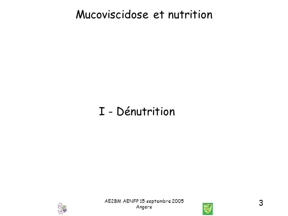 AE2BM AENFP 15 septembre 2005 Angers 24 Mucoviscidose et Nutrition Critères diagnostiques du diabète Classiques Glycémie à jeun N > 6.1 mmol/L Intolérance < 7 mmol/LDiabète HGPO (val.max) N > 7.8 mmol/L au glucose < 11.1 mmol/L Diabète (Mais ici asymptomatique et silencieux : polydipsie, perte pondérale, retard de croissance, détérioration de la Fn.