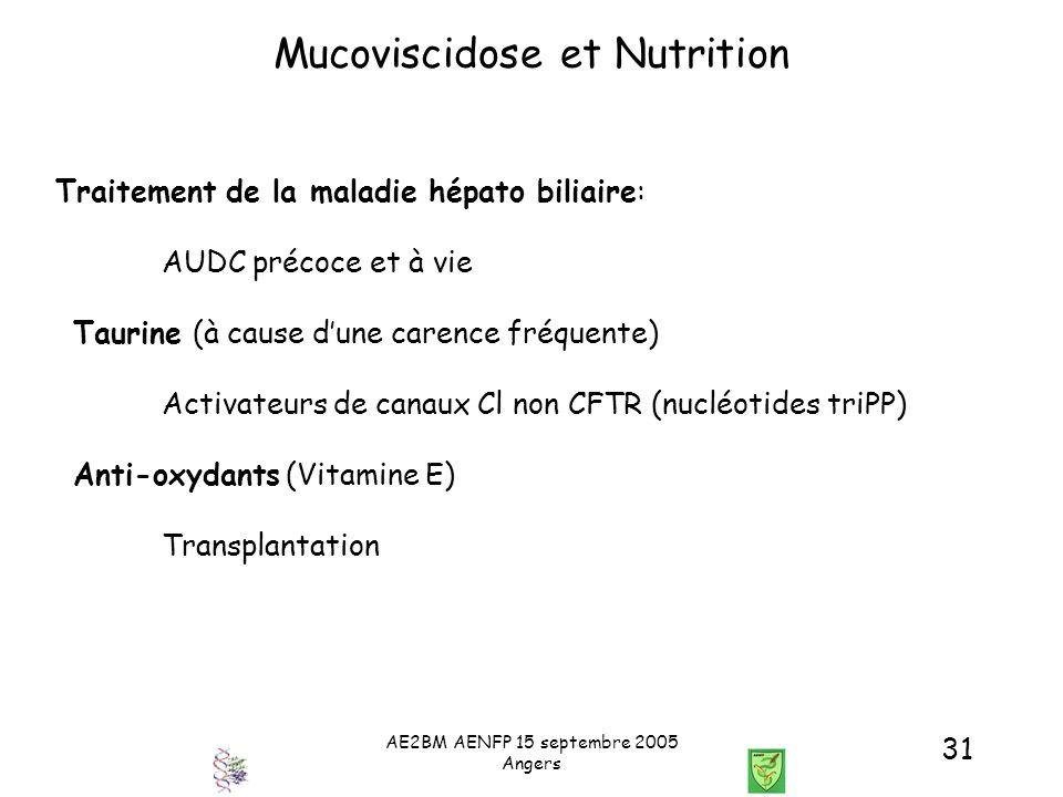 AE2BM AENFP 15 septembre 2005 Angers 31 Mucoviscidose et Nutrition Traitement de la maladie hépato biliaire: AUDC précoce et à vie Taurine (à cause du
