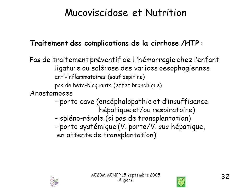 AE2BM AENFP 15 septembre 2005 Angers 32 Mucoviscidose et Nutrition Traitement des complications de la cirrhose /HTP : Pas de traitement préventif de l
