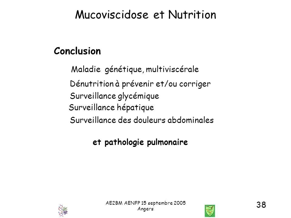 AE2BM AENFP 15 septembre 2005 Angers 38 Mucoviscidose et Nutrition Conclusion Maladie génétique, multiviscérale Dénutrition à prévenir et/ou corriger