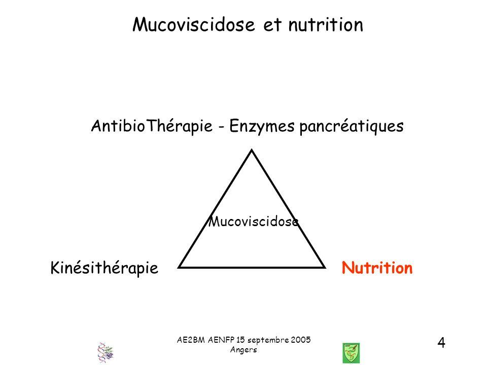 AE2BM AENFP 15 septembre 2005 Angers 5 Mucoviscidose et nutrition Fréquence de la dénutrition Fréquence Diagnostic > 44 % Dépistage néonatal5 à 25 % Nourrisson11 à 13% (P) 8 à 12 % (S) Enfance4 à 8 % (P) 9 à 17 % (S) Adolescence9 à 13 % (P) 8 à 21 % (S) Adulte8 à 38 % Globalement15 à 44 % S= stature P= Poids