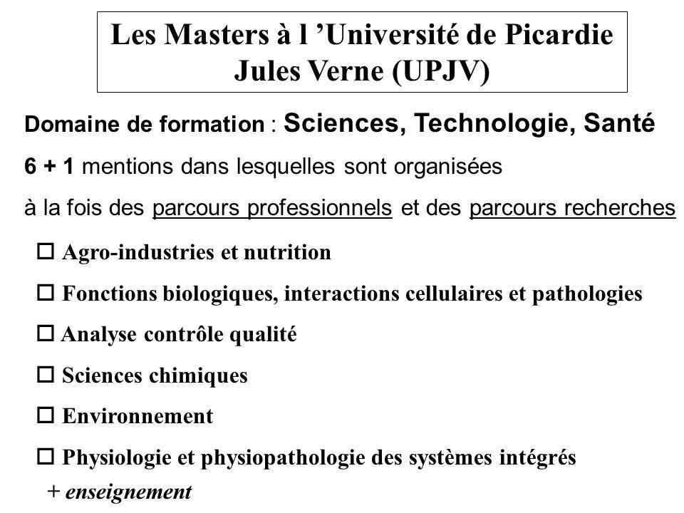 Les Masters à l Université de Picardie Jules Verne (UPJV) Domaine de formation : Sciences, Technologie, Santé 6 + 1 mentions dans lesquelles sont orga