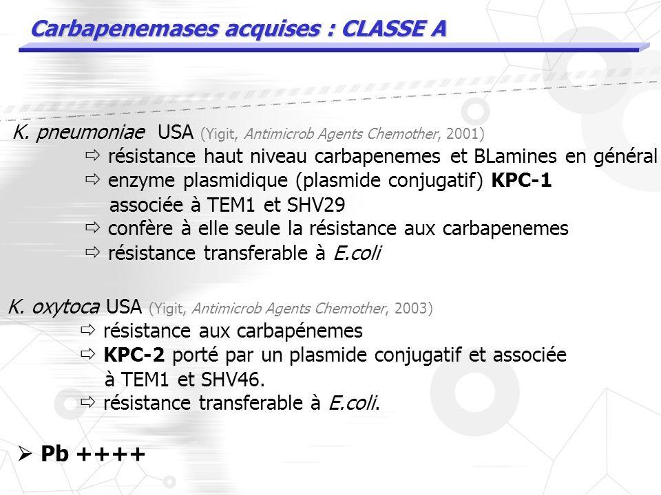 K. pneumoniae USA (Yigit, Antimicrob Agents Chemother, 2001) résistance haut niveau carbapenemes et BLamines en général enzyme plasmidique KPC-1 assoc