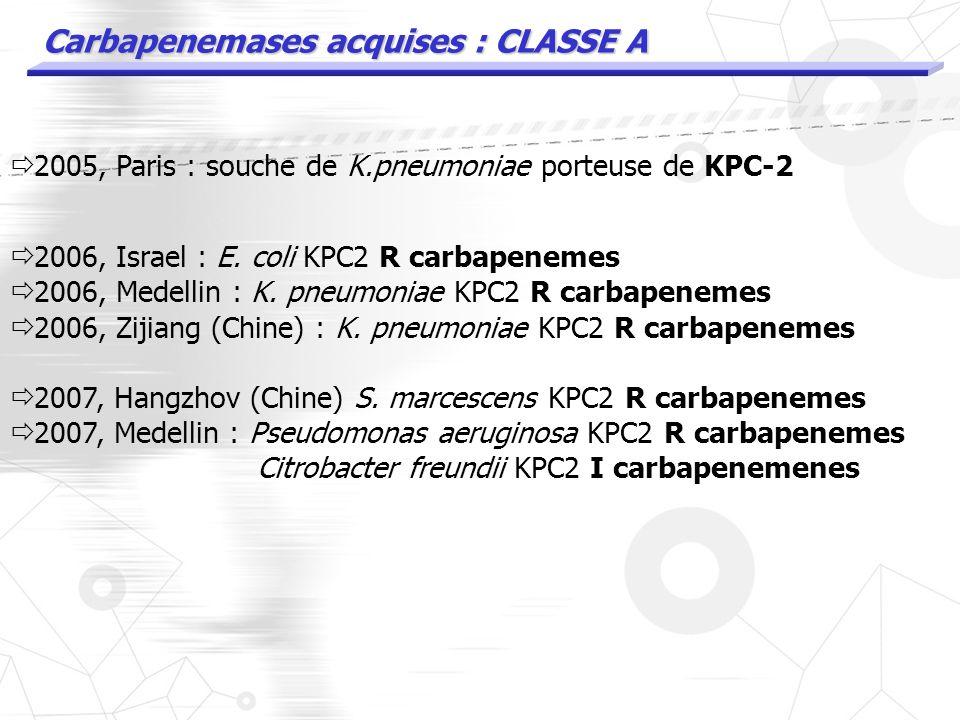 Carbapenemases acquises : CLASSE A 2005, Paris : souche de K.pneumoniae porteuse de KPC-2
