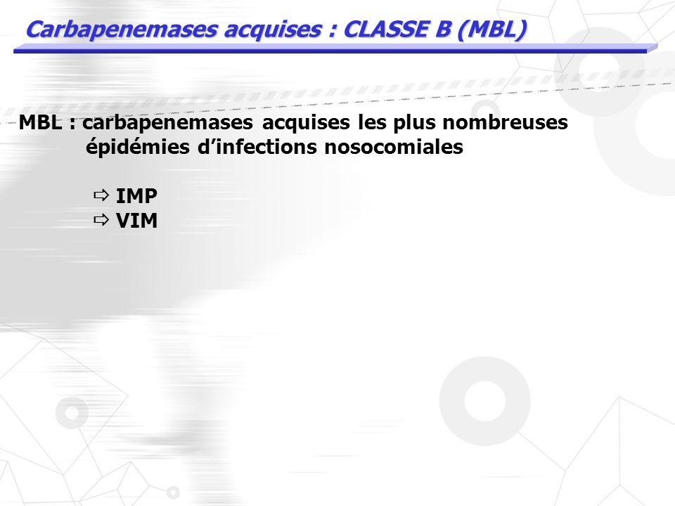 Carbapenemases acquises : CLASSE A P. aeruginosa, Afrique du Sud (Poirel, Antimicrob Agents Chemother 2001) profil de pyo multi-R et intermédiaire à l