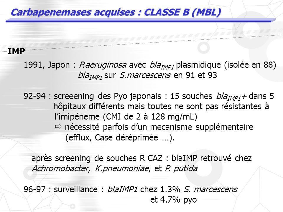 Carbapenemases acquises : CLASSE B (MBL) IMP 1991, Japon : P.aeruginosa avec enzyme plasmidique (isolée en 88) transferable