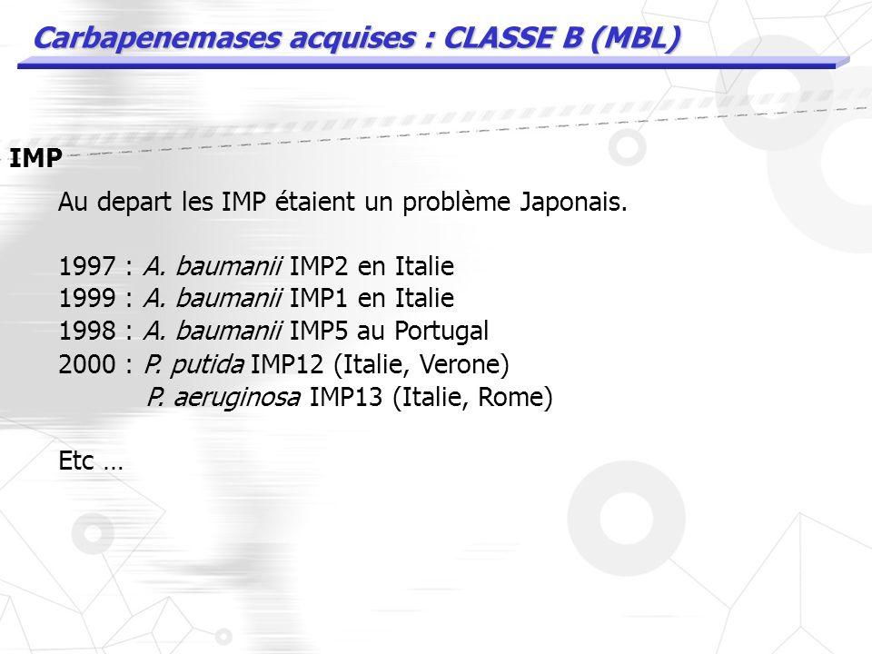 Carbapenemases acquises : CLASSE B (MBL) IMP Au depart les IMP étaient un problème Japonais. 1997 : A. baumanii en Italie enz. IMP2 génétiquement diff