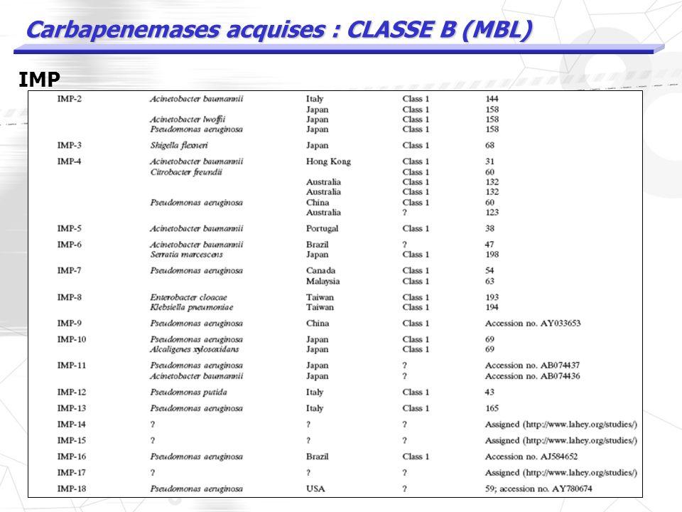 Carbapenemases acquises : CLASSE B (MBL) IMP
