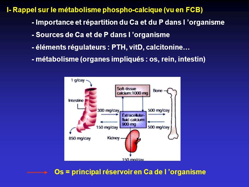II- Principales maladies osseuses - Ostéoporoses - primitives - ménopause - vieillissement - secondaires - traitement (corticothérapie) - maladie (cushing) - Invasion métastatique des os (localisation secondaire des tumeurs du sein, et de la prostate) - Ostéomalacie (anomalie de la minéralisation) - Hyperparathyroïdisme I aire et II aire - Intoxication à la vitamine D - Maladie de Paget Explorations biochimiques - Paramètres de l homéostasie calcique - Marqueurs du remodelage osseux