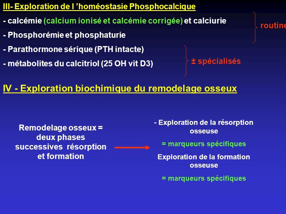 III- Exploration de l homéostasie Phosphocalcique - calcémie (calcium ionisé et calcémie corrigée) et calciurie - Phosphorémie et phosphaturie - Parat