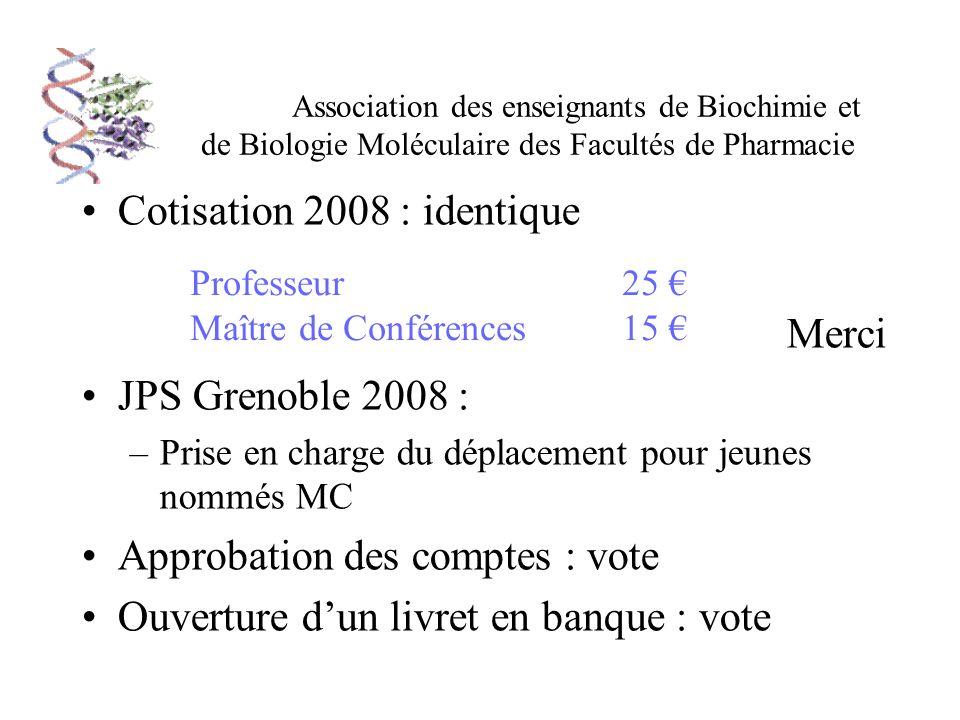 Association des enseignants de Biochimie et de Biologie Moléculaire des Facultés de Pharmacie Cotisation 2008 : identique Merci JPS Grenoble 2008 : –P
