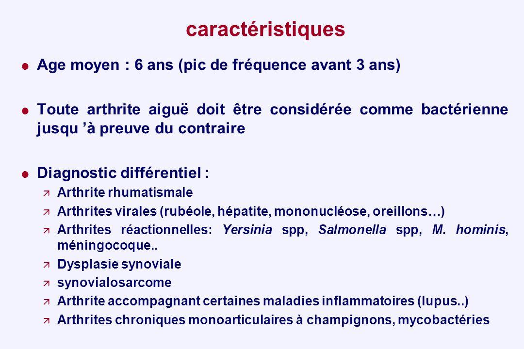caractéristiques Age moyen : 6 ans (pic de fréquence avant 3 ans) Toute arthrite aiguë doit être considérée comme bactérienne jusqu à preuve du contra