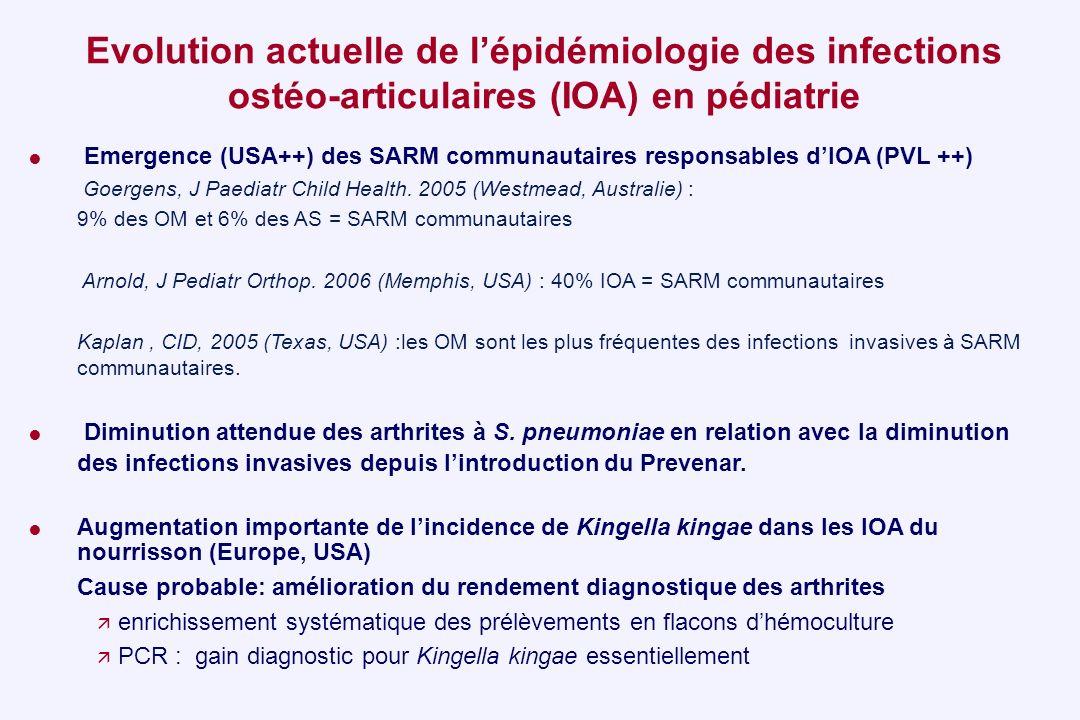 Emergence (USA++) des SARM communautaires responsables dIOA (PVL ++) Goergens, J Paediatr Child Health. 2005 (Westmead, Australie) : 9% des OM et 6% d