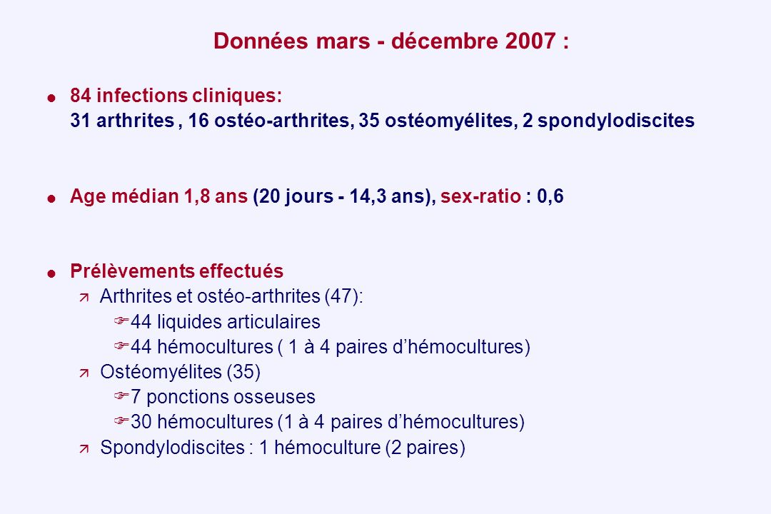 Données mars - décembre 2007 : 84 infections cliniques: 31 arthrites, 16 ostéo-arthrites, 35 ostéomyélites, 2 spondylodiscites Age médian 1,8 ans (20