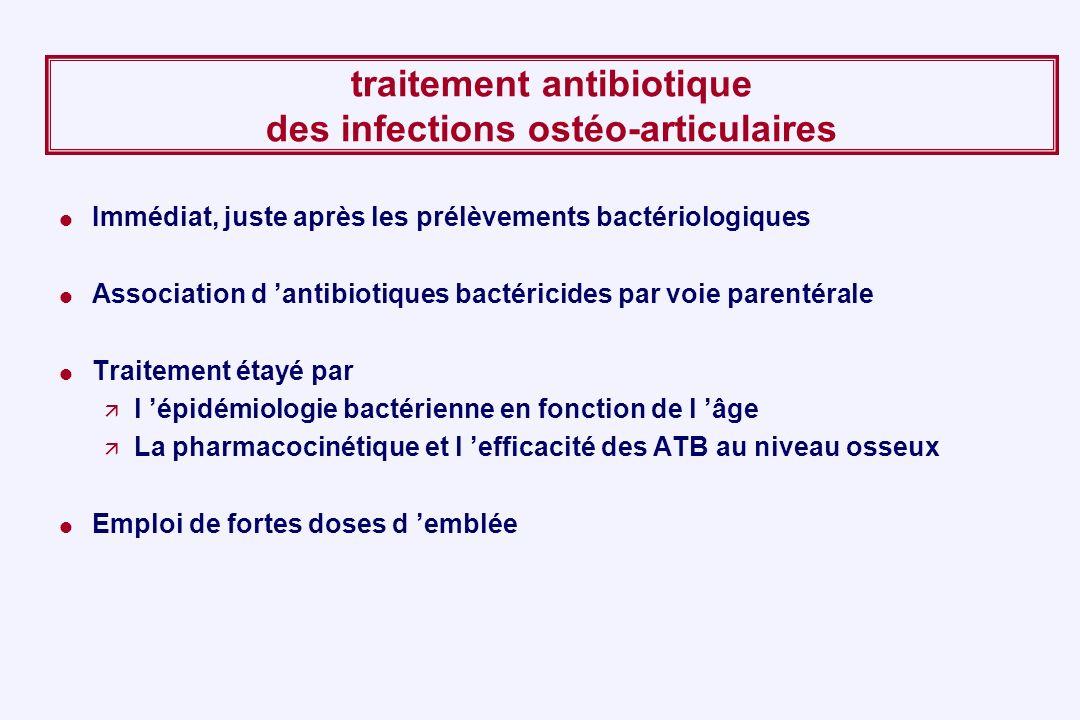 traitement antibiotique des infections ostéo-articulaires Immédiat, juste après les prélèvements bactériologiques Association d antibiotiques bactéric