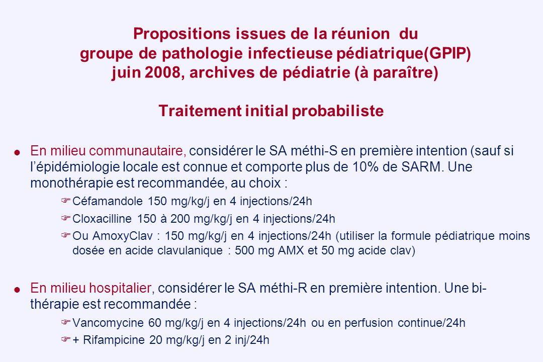 Propositions issues de la réunion du groupe de pathologie infectieuse pédiatrique(GPIP) juin 2008, archives de pédiatrie (à paraître) Traitement initi