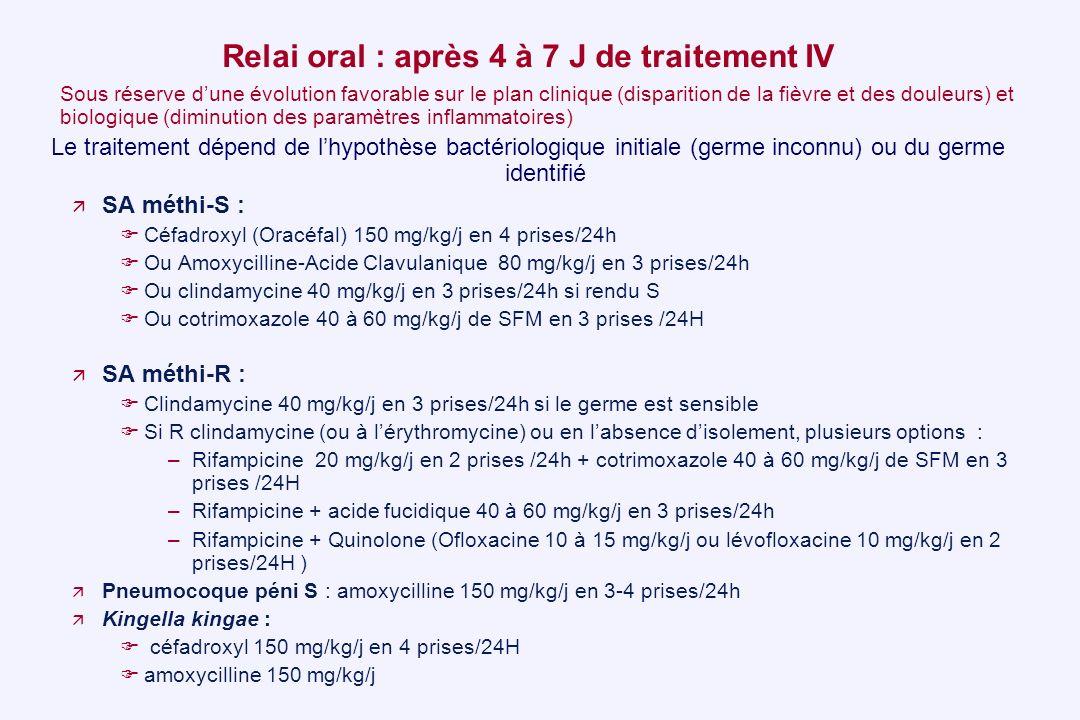 Relai oral : après 4 à 7 J de traitement IV Sous réserve dune évolution favorable sur le plan clinique (disparition de la fièvre et des douleurs) et b