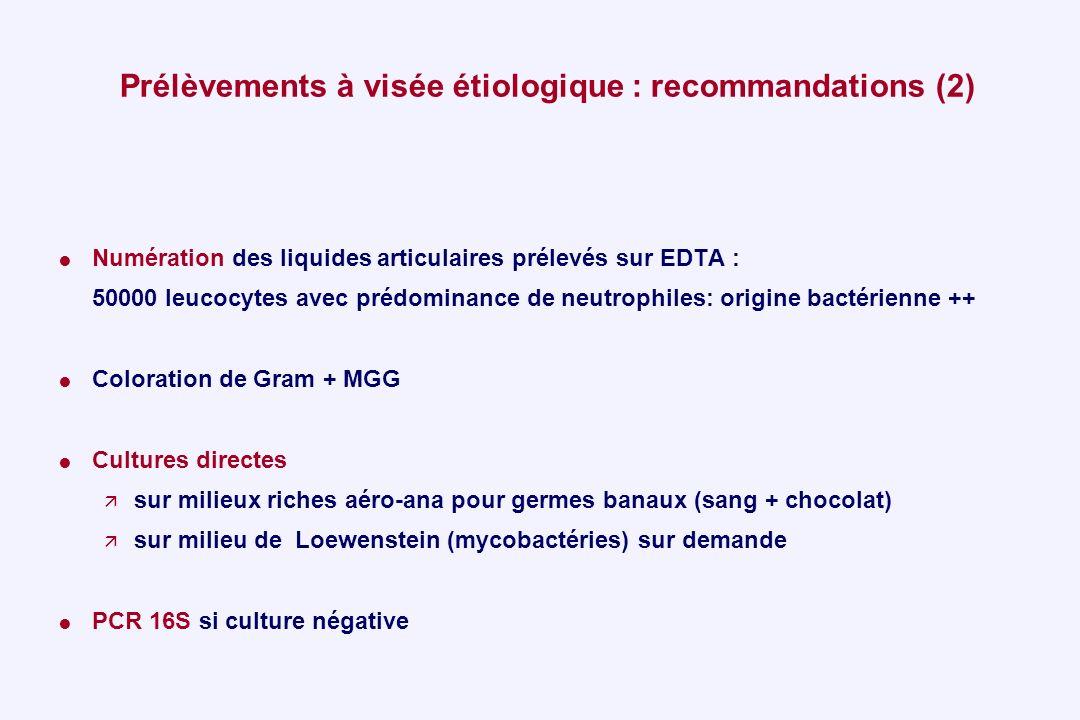 Prélèvements à visée étiologique : recommandations (2) Numération des liquides articulaires prélevés sur EDTA : 50000 leucocytes avec prédominance de