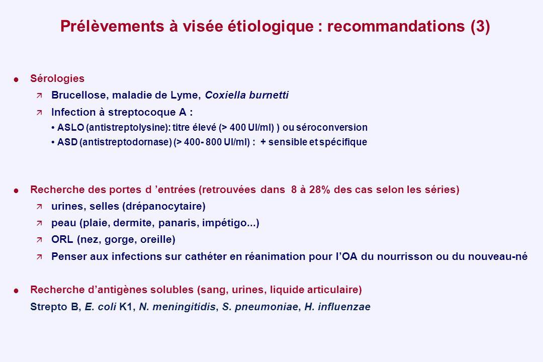 Prélèvements à visée étiologique : recommandations (3) Sérologies Brucellose, maladie de Lyme, Coxiella burnetti Infection à streptocoque A : ASLO (an