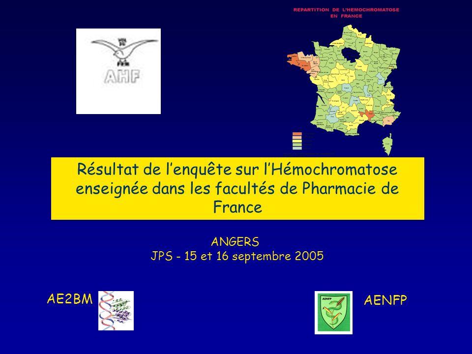 Résultat de lenquête sur lHémochromatose enseignée dans les facultés de Pharmacie de France ANGERS JPS - 15 et 16 septembre 2005 AE2BM AENFP