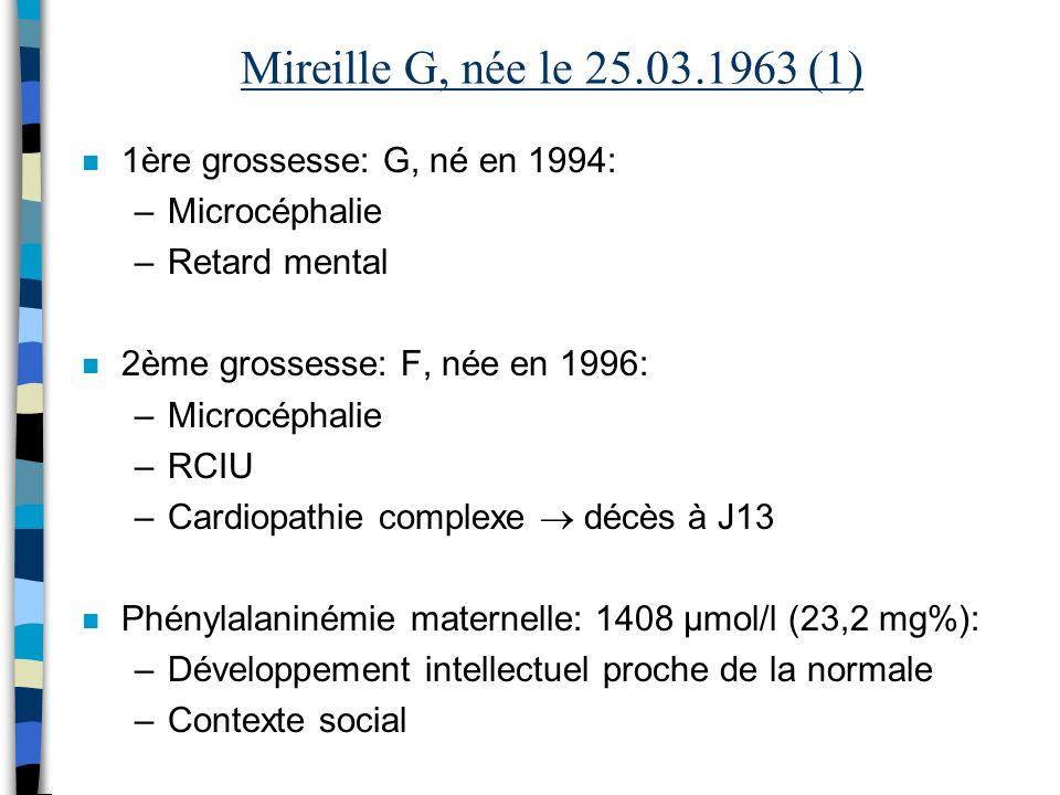 Mireille G, née le 25.03.1963 (1) n 1ère grossesse: G, né en 1994: –Microcéphalie –Retard mental n 2ème grossesse: F, née en 1996: –Microcéphalie –RCI