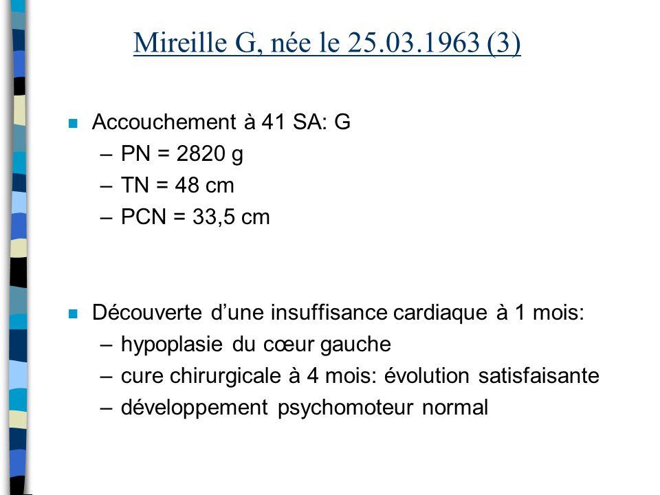 Mireille G, née le 25.03.1963 (3) n Accouchement à 41 SA: G –PN = 2820 g –TN = 48 cm –PCN = 33,5 cm n Découverte dune insuffisance cardiaque à 1 mois: